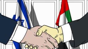 Biznesmeni lub politycy trząść ręki przeciw flaga Izrael i UAE Oficjalny spotkanie lub współpraca powiązana kreskówka ilustracji