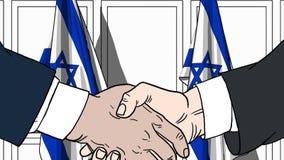 Biznesmeni lub politycy trząść ręki przeciw flaga Izrael Oficjalny spotkanie lub współpraca powiązana kreskówka ilustracja wektor