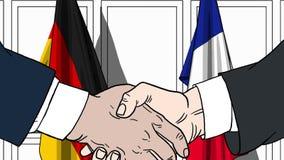 Biznesmeni lub politycy trząść ręki przeciw flaga Niemcy i Francja Spotkanie lub współpraca powiązana kreskówka royalty ilustracja