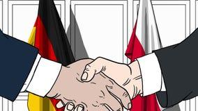 Biznesmeni lub politycy trząść ręki przeciw flaga Niemcy i Polska Oficjalny spotkanie lub współpraca odnosić sie royalty ilustracja