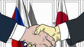 Biznesmeni lub politycy trząść ręki przeciw flaga Rosja i Japonia Spotkanie lub współpraca powiązana kreskówka ilustracja wektor