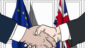 Biznesmeni lub politycy trząść ręki przeciw flaga UE i Wielki Brytania Spotkanie lub współpraca powiązana kreskówka royalty ilustracja