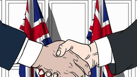 Biznesmeni lub politycy trząść ręki przeciw flaga Wielki Brytania Spotkanie lub współpraca powiązana kreskówka ilustracji