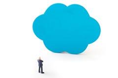 Biznesmeni myśleć z błękit chmurą Zdjęcie Royalty Free