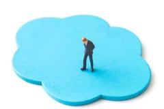 Biznesmeni myśleć z błękit chmurą Obraz Royalty Free