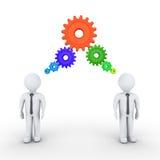 Biznesmeni myśleć z związanymi cogwheels Zdjęcie Stock