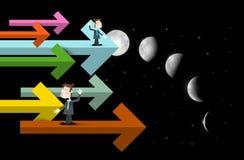 Biznesmeni na strzałach z księżyc fazami royalty ilustracja