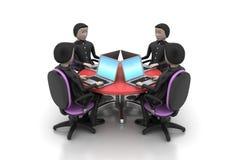 Biznesmeni patrzeje laptopy wokoło stołu Zdjęcia Stock