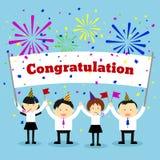 Biznesmeni trzyma gratulacje znaka wektor Zdjęcia Royalty Free