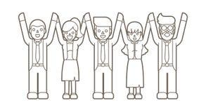 Biznesmeni trzyma ręki zwycięzca, Pomyślny biznes, Drużynowa praca ilustracja wektor