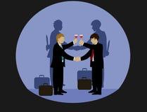 Biznesmeni trzymają ręki i piją wino Ale cień z obu stron jego ręki trzyma nóż ilustracja wektor