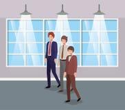 Biznesmeni w korytarza biurze ilustracji