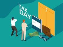 Biznesmeni w podatku dniu z kopertą i ikonami ilustracji