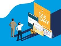 Biznesmeni w podatku dniu z kopert? i ikonami ilustracja wektor