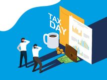 Biznesmeni w podatku dniu z kopert? i ikonami royalty ilustracja