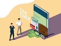 Biznesmeni w podatku dniu z książki i setu ikonami ilustracji