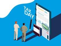 Biznesmeni w podatku dniu z planist? i ikonami ilustracja wektor