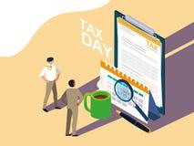 Biznesmeni w podatku dniu z schowkiem i ikonami ilustracji