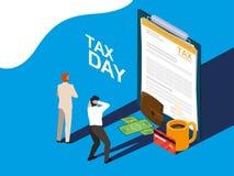 Biznesmeni w podatku dniu z schowkiem i ikonami royalty ilustracja