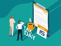 Biznesmeni w podatku dniu z schowkiem i kalendarzem royalty ilustracja