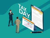 Biznesmeni w podatku dniu z schowkiem i kalendarzem ilustracji
