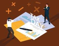 Biznesmeni w podatku dniu z statystycznym dokumentem i ikonami ilustracji