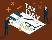 Biznesmeni w podatku dniu z statystycznym dokumentem i ikonami royalty ilustracja