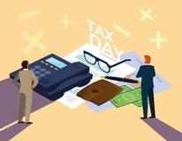 Biznesmeni w podatku dniu z telefonem i ikonami ilustracji