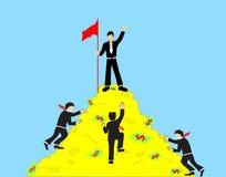 Biznesmeni wspinają się wierzchołek pieniądze góra i czupiradło royalty ilustracja