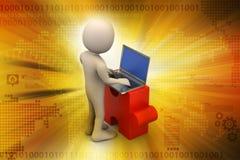 Biznesmeni z łamigłówka laptopem i kawałkiem Zdjęcia Stock