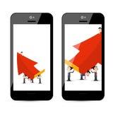 Biznesmeni z Dużą Czerwoną strzałą na Mądrze telefonie ilustracja wektor