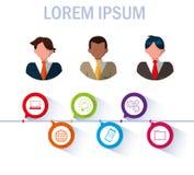 Biznesmeni z infographic i biznesowymi ikonami royalty ilustracja