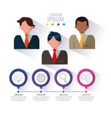 Biznesmeni z infographic i biznesowymi ikonami ilustracji