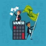 Biznesmeni z kalkulatora i pieniądze flagą royalty ilustracja