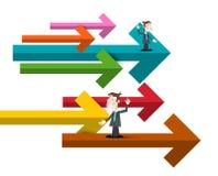 Biznesmeni z Kolorowymi Papierowymi strzałami ilustracja wektor