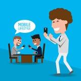 Biznesmeni z smartphone w ręce ilustracja wektor