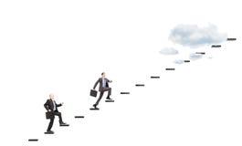 Biznesmeni z teczek kłoszeniami w kierunku wzrostów Zdjęcie Stock