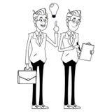 Biznesmeni z teczk? czarny i bia?y ilustracja wektor