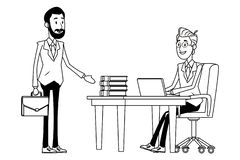 Biznesmeni z teczk? czarny i bia?y royalty ilustracja