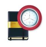 Biznesowa agenda z zegarem odizolowywającym Zdjęcie Stock