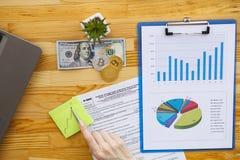 Biznesowa analiza - kobieta pracuje z pieniężnymi dane sporządza mapę przy zdjęcie stock