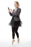 Biznesowa balerina z telefonem zdjęcia royalty free