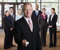 biznesowa biznesmena karty ofiara obraz stock