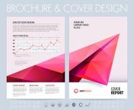 Biznesowa broszurka z poligonalnym samolotem również zwrócić corel ilustracji wektora Fotografia Stock