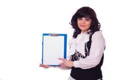 Biznesowa dama z czystym prześcieradłem Zdjęcie Stock