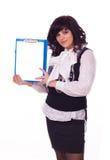 Biznesowa dama z czystym prześcieradłem Zdjęcia Royalty Free