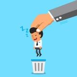 Biznesowa duża ręka rzuca sypialnego biznesmena kosz na śmieci Fotografia Stock