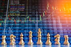 Biznesowa gra na cyfrowym rynku papierów wartościowych pieniężnym i szachowym backgr zdjęcie royalty free