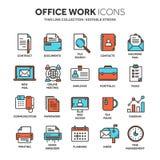 Biznesowa i biurowa praca Dokumenty, papierkowa robota Biznesmen Cienieje kreskowego błękitnego sieci ikony set Kontur ikony inka Zdjęcia Royalty Free