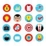 Biznesowa ikona ustawiająca w mieszkanie stylu Wektorowe ilustracje pieniądze, cele i finansów znaki, Obrazy Royalty Free